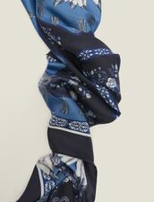 Foulard In Seta Stampata : null colore Blue jeans