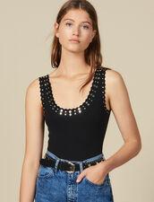 Body En Maille Orné De Studs : Tops & Chemises couleur Noir
