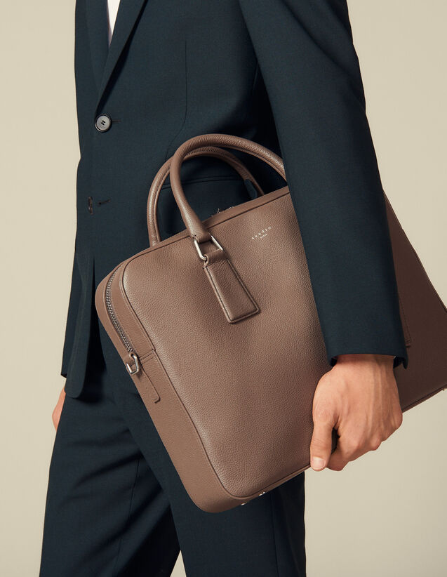 Briefcase En Cuir Grainé : Briefcases couleur Taupe