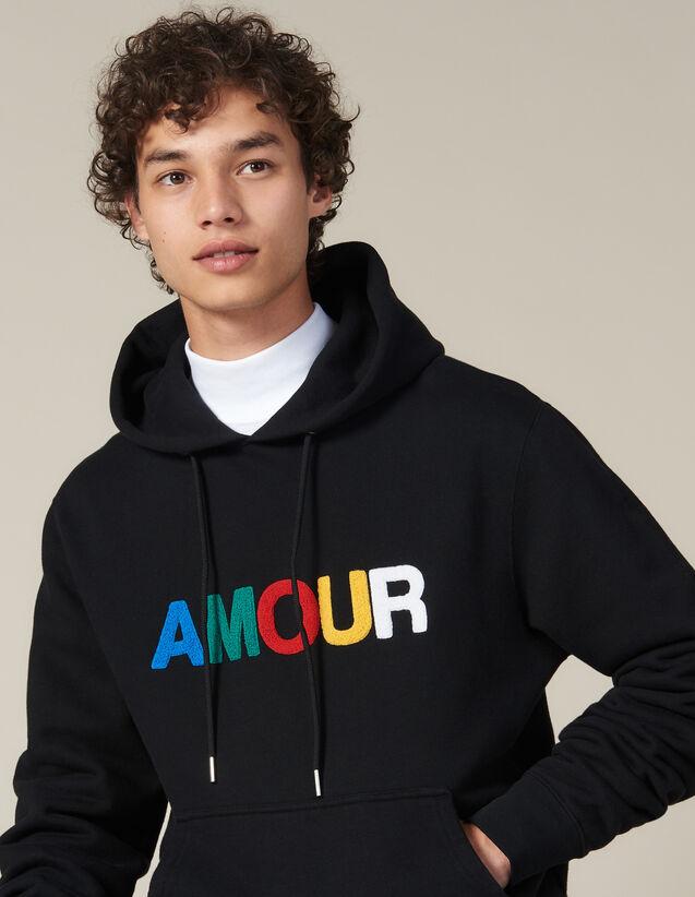 Hoodie Avec Patch Amour : Sweats couleur Noir