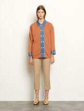 Cardigan oversize con inserti in jeans : Maglieria & Cardigan colore Brown