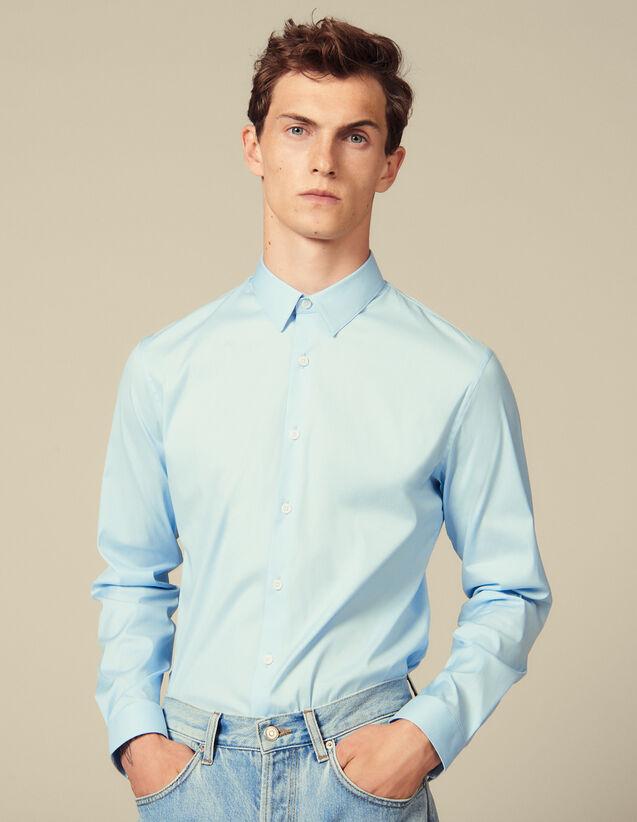 Chemise Classique Coupe Slim : Chemises couleur Bleu Ciel