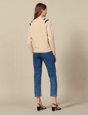Pullover Con Scollo A V Decorato : Maglieria & Cardigan colore Beige