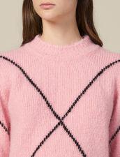 Pullover In Jacquard Effetto Peloso : Maglieria & Cardigan colore Rosa