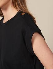 T-shirt larga con patte : Magliette colore Nero