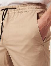 Pantaloni Vita Elasticizzata In Cotone : Sélection Last Chance colore Beige