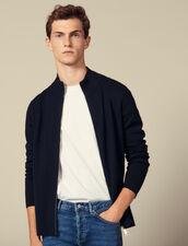Cardigan zippé en laine : SOLDES-UK-HSelection-PAP couleur Noir