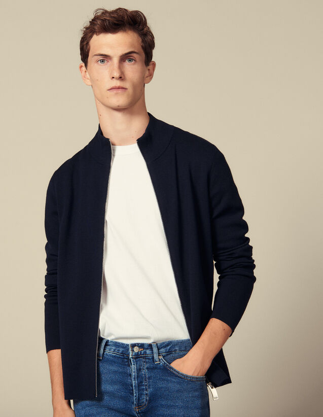 Cardigan Zippé En Laine : Pulls & Cardigans couleur Noir