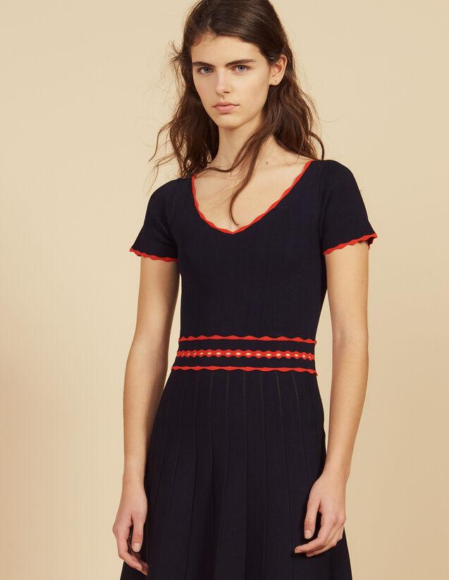 Robe En Maille Courte Plissée : Robes couleur Marine