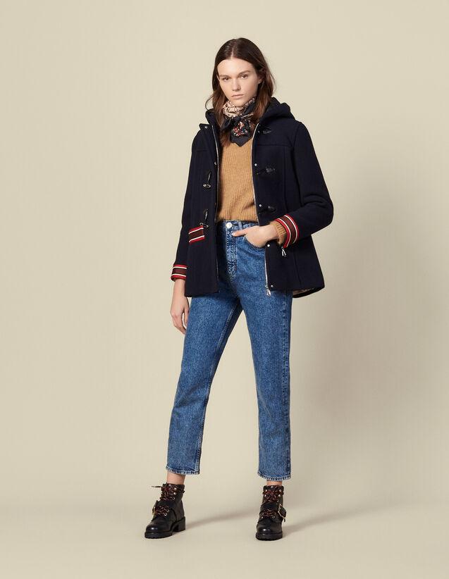 Cappotto in lana con decori multicolore : Cappotti colore Blu Marino