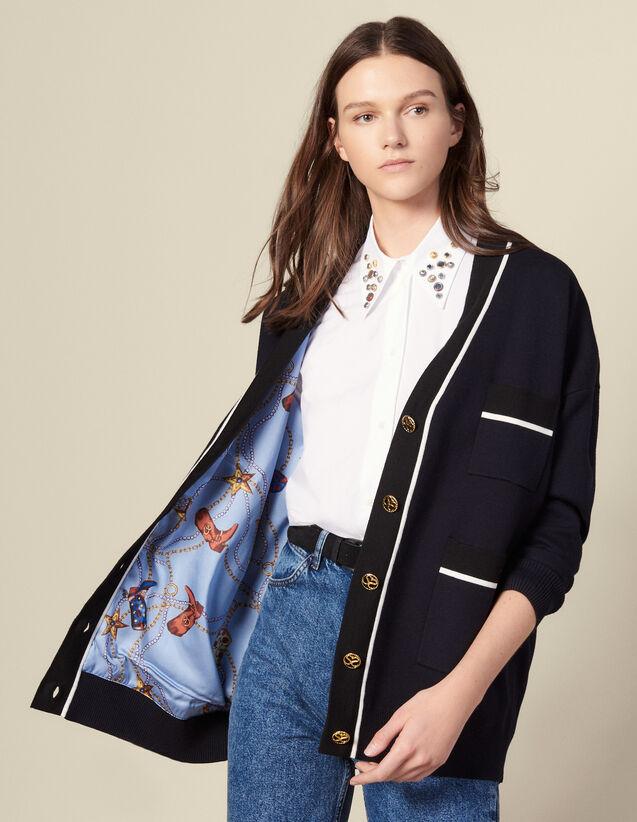Cardigan-cappotto con fodera stampata : Maglieria & Cardigan colore Blu Marino