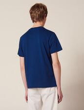 T-Shirt Con Scritta Applicata : Sélection Last Chance colore Blu