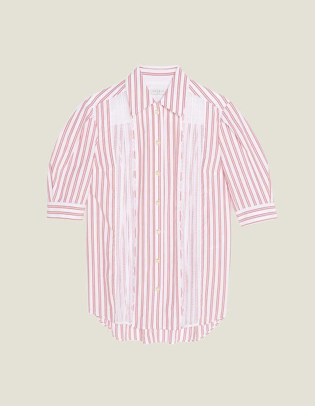 Camicia A Righe Condettaglio In Pizzo : null colore Rosso