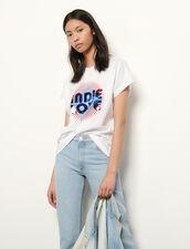 T-shirt in cotone organico con paillette : Magliette colore Bianco