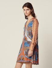 Robe Courte Imprimée Boutonnée : null couleur Multicolore