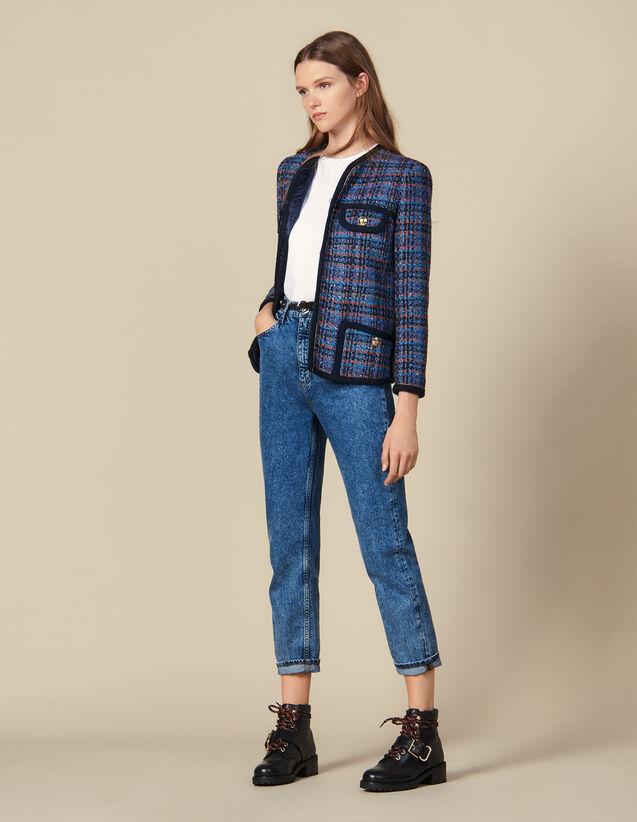Giacca In Tweed A Quadri : Giacche & Giubbotti colore Multicolore