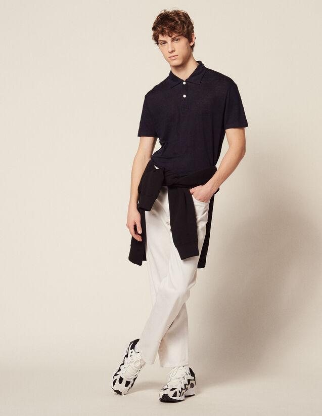 Polo A Maniche Corte In Lino : Magliette & Polo colore Bianco