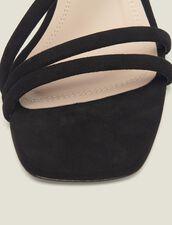 Sandales À Petits Talons En Cuir : null couleur Noir