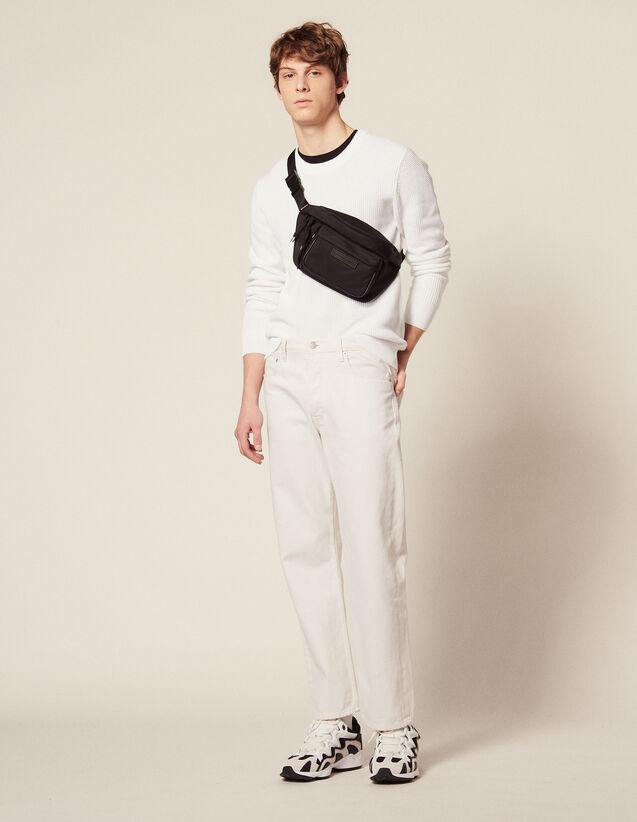 Pullover Con Maglia In Rilievo In Cotone : Maglioni & Cardigan colore Bianco