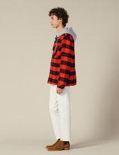 Camicia A Quadri Con Cappuccio : Giubbotti & Giacche colore Arancio