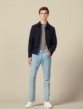 Giubbotto con zip in serge di lana : Giubbotti & Giacche colore Blu Marino