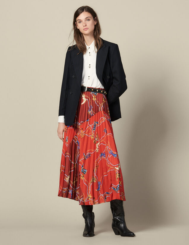 Jupe Longue Plissée Et Imprimée : Jupes & Shorts couleur Rouge