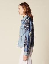 Giacca In Jeans Con Inserti Stampati : Giacche & Giubbotti colore Blue Vintage - Denim