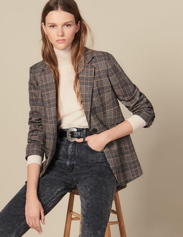 Blazer en laine à carreaux : Blousons & Vestes couleur Camel