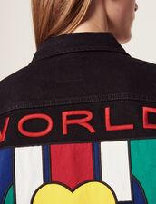 Giacca Jeans Maschile Con Applicazione : Giacche & Giubbotti colore Nero
