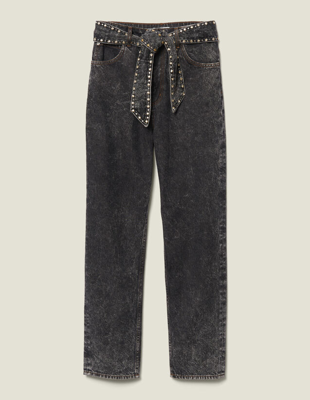 Jeans snow washed con borchie : LastChance-ES-F50 colore Nero