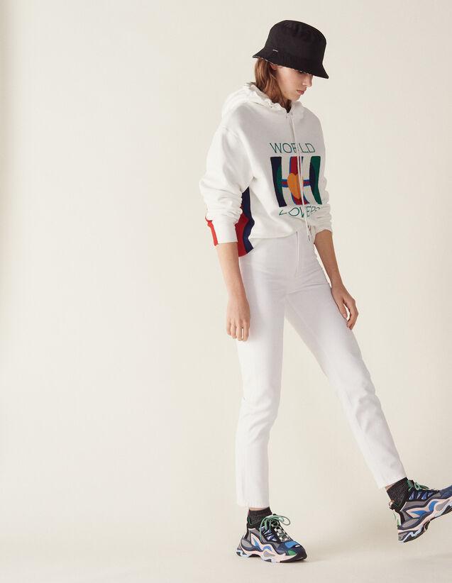 Jeans A Vita Alta Linea Dritta : null colore Bianco