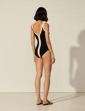 Body bicolore in maglia con spalline : Top & Camicie colore Nero