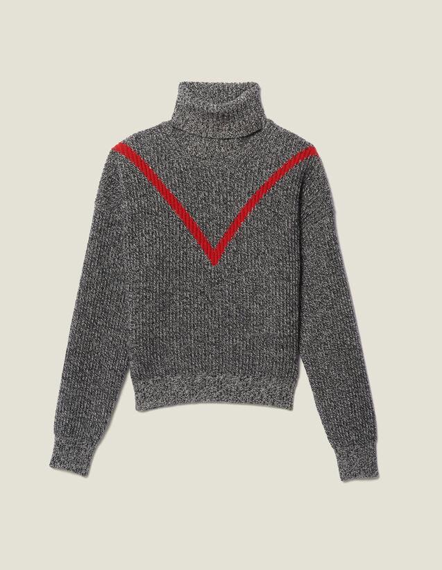 Pullover A Collo Alto In Maglia Chiné : LastChance-ES-F30 colore Grigio