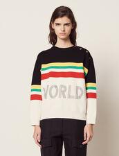 Pullover A Righe Multicolori E Scritta : Maglieria & Cardigan colore Nero