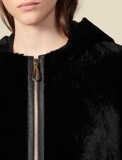 Cappotto in montone con patta in pelle : Cappotti colore Nero