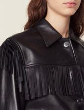 Giacca In Pelle Con Frange : null colore Nero