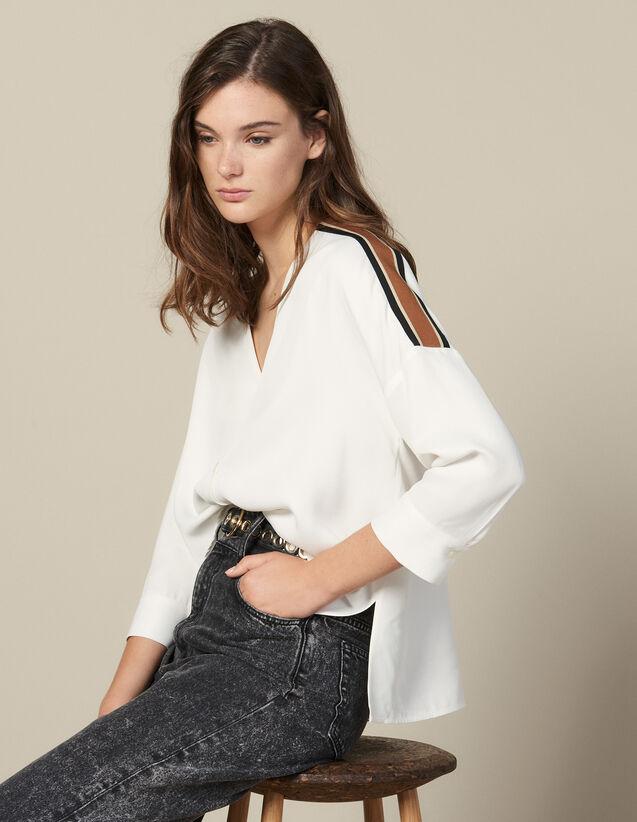 Camicia Fluida Con Decorazione A Righe : Top & Camicie colore Ecru