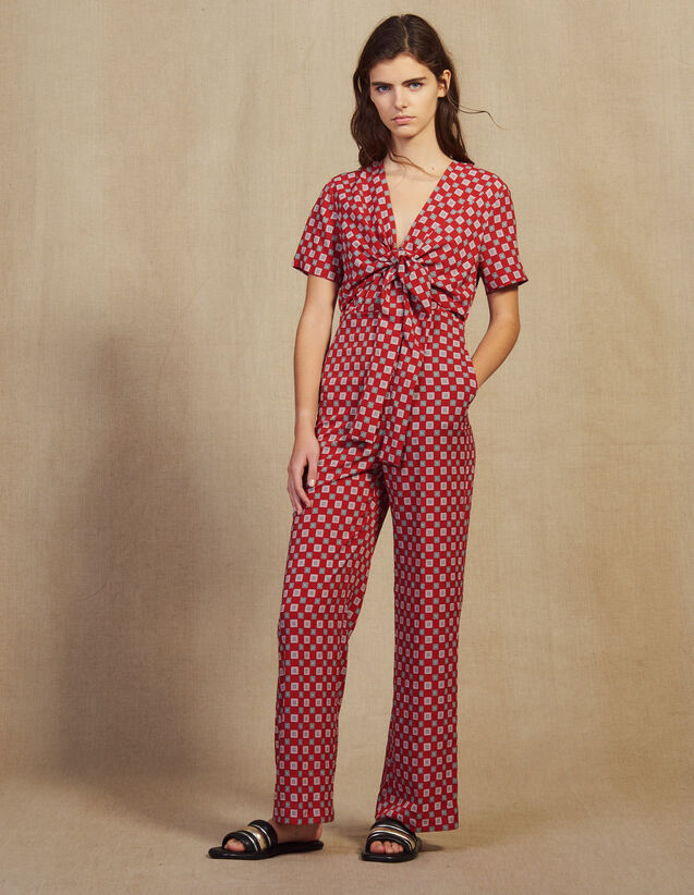Tuta Pantalone Fluida Stampata : Tute colore Rosso