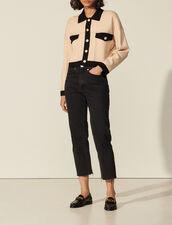 Cardigan corto bicolore con impunture : Maglieria & Cardigan colore Nudo