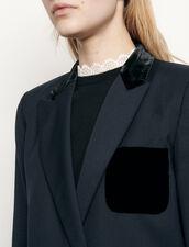 Veste de tailleur avec poche en velours : Blousons & Vestes couleur Marine