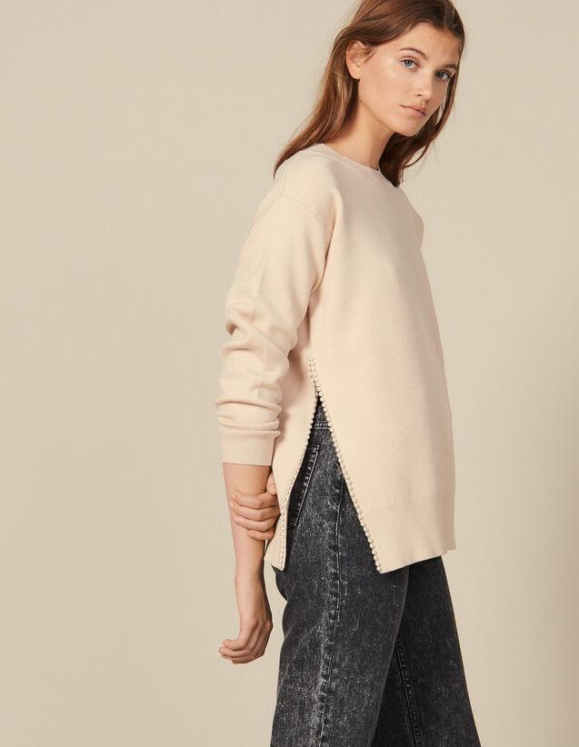 Pull Avec Une Fente Brodée De Perles : Pulls & Cardigans couleur Beige