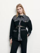 Cardigan-cappotto con inserti in denim : Maglieria & Cardigan colore Nero