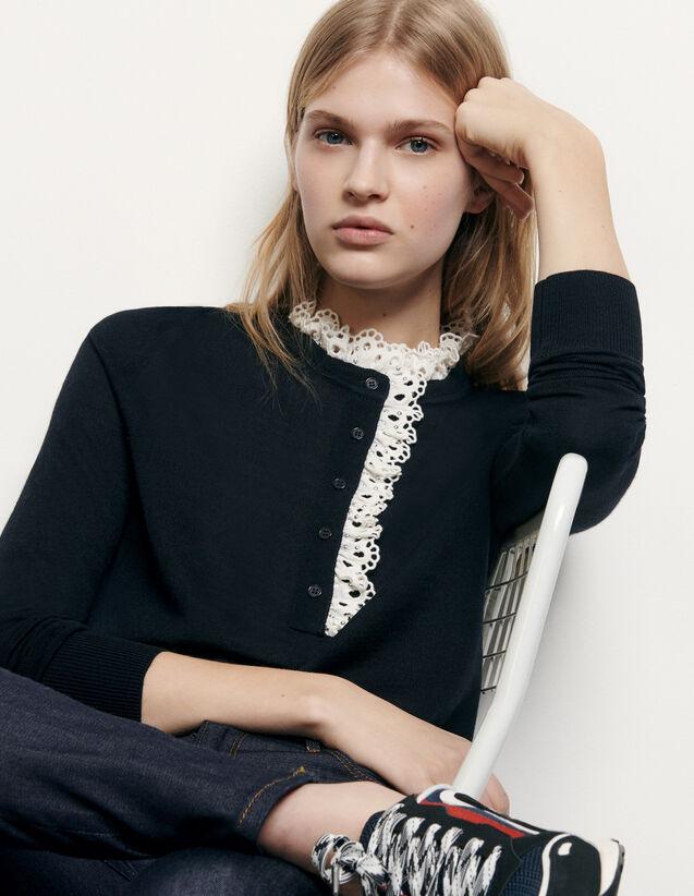 Pullover con sangallo sul collo : Maglieria & Cardigan colore Blu Marino