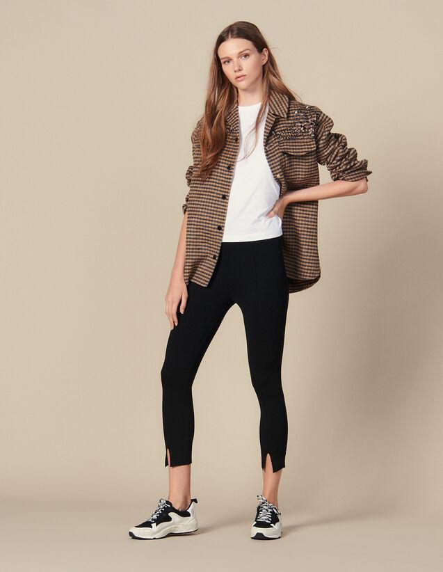Legging En Maille Avec Petites Fentes : Pantalons couleur Noir