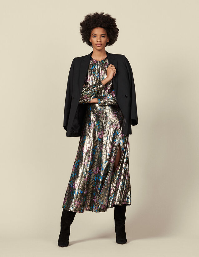 Robe longue en jacquard lurex : Robes couleur Multicolore