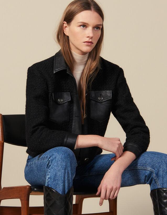 Blouson en tweed avec finitions cuir : LastChance-ES-F40 couleur Noir