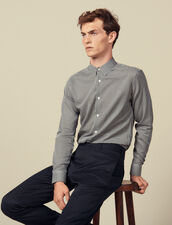 Camicia senza cuciture a micro quadri : Camicie colore Blu Marino