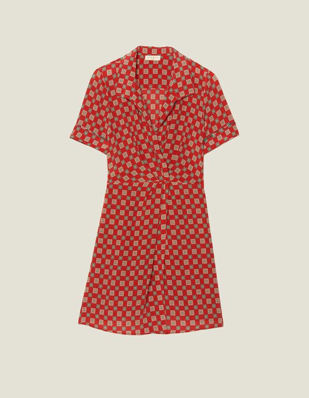 Robe Courte Imprimée En Soie : LastChance-FR-FSelection couleur Rouge