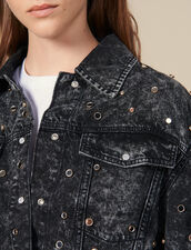 Chemise En Jean Ornée De Studs : Tops & Chemises couleur Noir