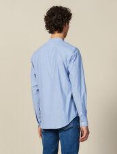 Camicia A Righe Con Collo Alla Coreana : Collezione Inverno colore Blu/bianco